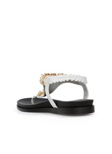 Divarese 5024234 Taşlı Kadın Sandalet Gümüş